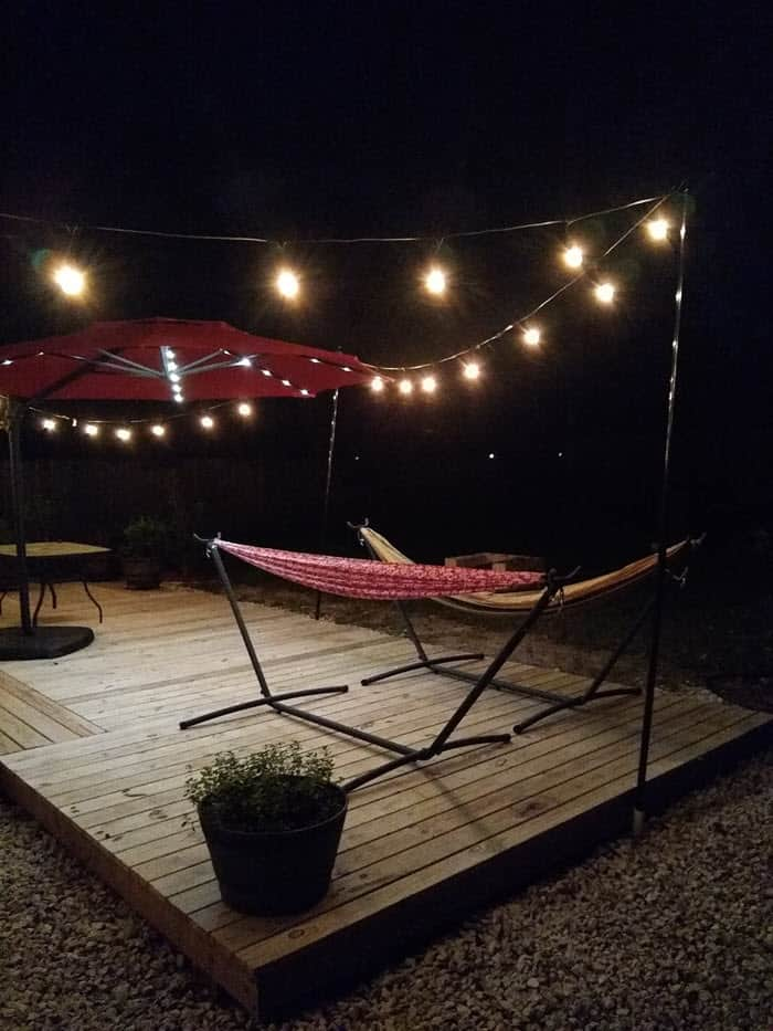 deck lights with hammock