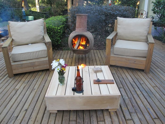 chiminea seating area
