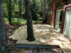multi level deck around tree
