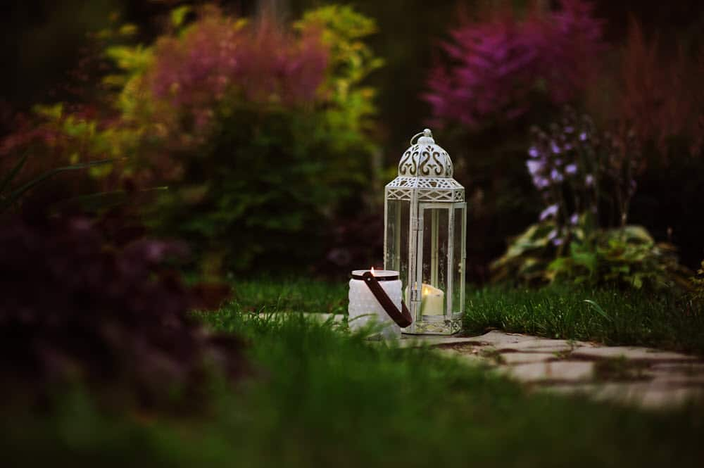 intimate lanterns in garden
