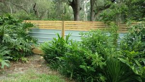 horizontal fence with metal accents
