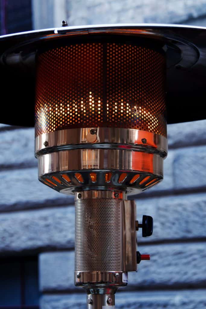 close up of outdoor heater