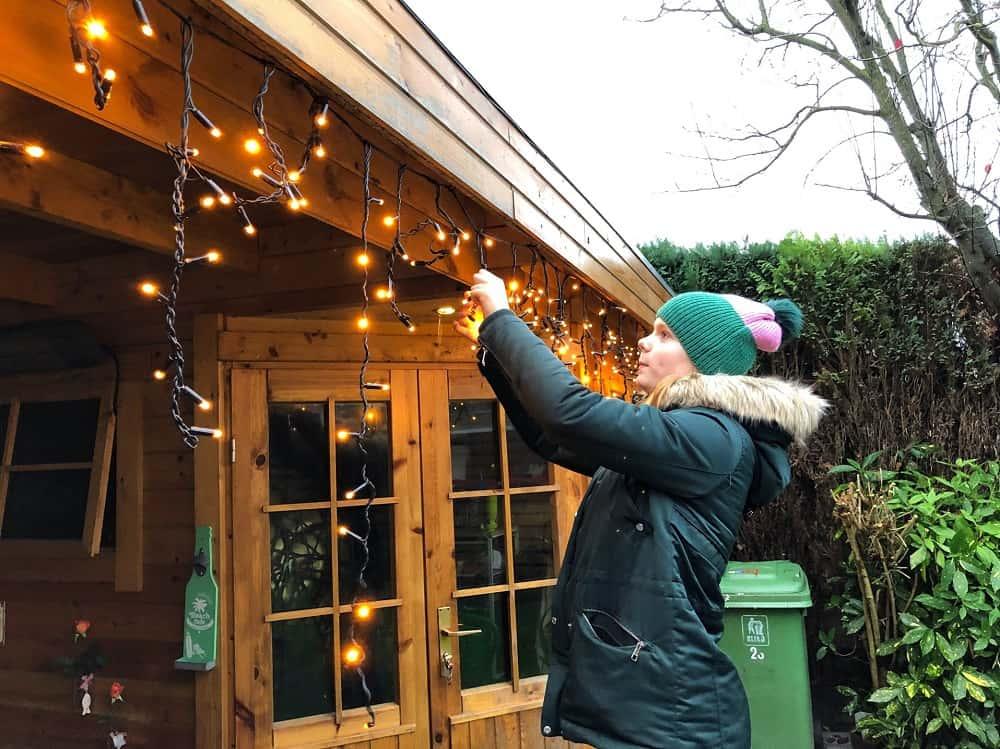 hanging christmas lights outside
