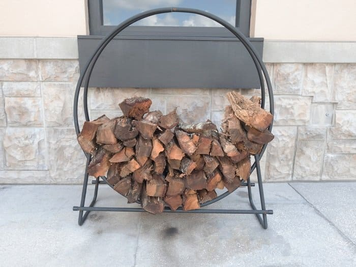 firewood on a circular firewood rack